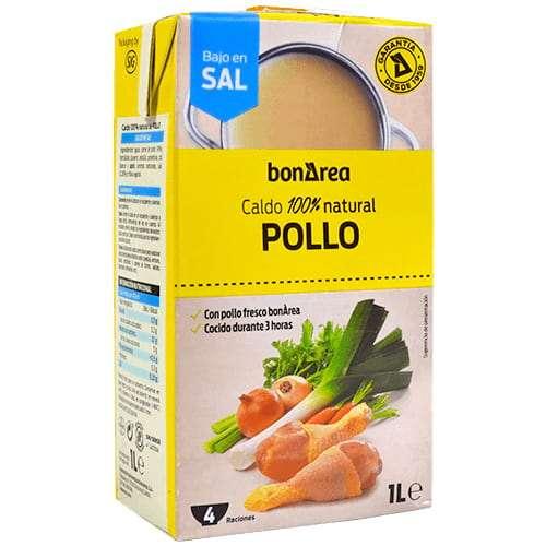 Caldo Natural de Pollo bajo en sal 1L - Chicken broth slightly salted